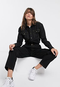 Waven boyfriend denim shirt with contrast stitching-Black