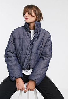 Waven denim padded jacket with circle zip puller-Navy