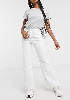 Waven flare jeans in optican white