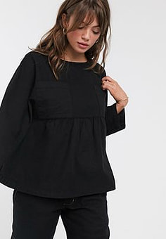 Waven gathered denim smock top-Black