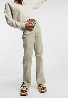 Waven straight leg jeans with side slit in sand-Beige