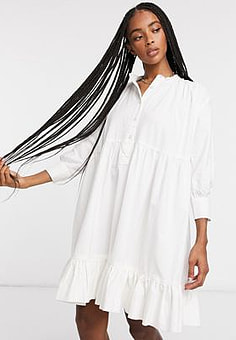 Waven volume frill dress in optical white