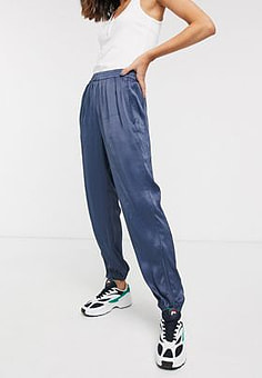 Weekday Alexis cuffed satin joggers in deep blue