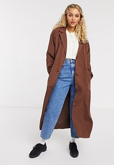 Weekday Amaya Trench Coat-Brown