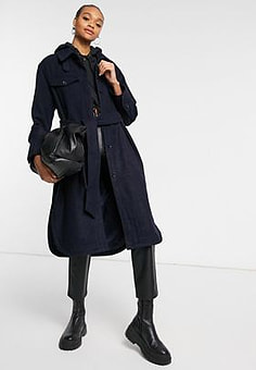 Weekday Boel over shirt coat in navy