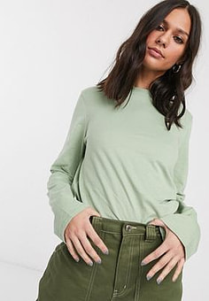 Weekday Carrie long sleeve t-shirt in dusty green