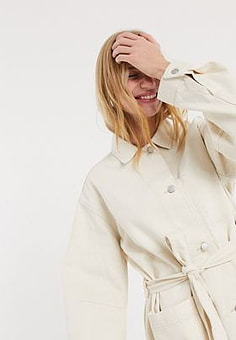 Weekday Clay worker jacket in ecru-White