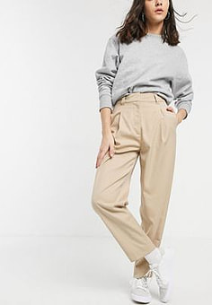Weekday Cleo tapered peg trousers in beige