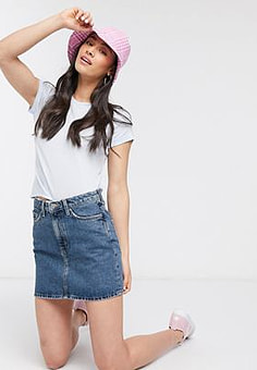 Weekday denim mini skirt in blue