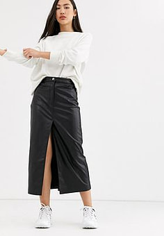 Weekday Emmie faux leather midi skirt in black