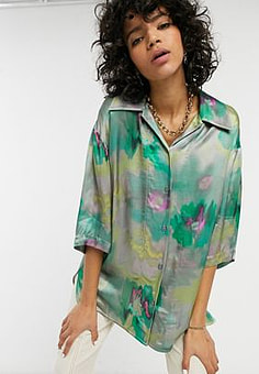 Weekday Lesley satin shirt in multi