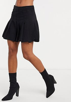 Weekday pleated mini skirt in black