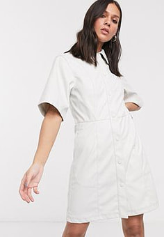 Weekday Savanna faux-leather mini shirt dress in off white