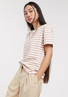 Weekday striped round neck tee in pink and white-Multi