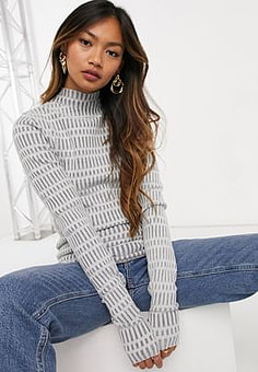Weekday Tess knitted top with high neck in grey