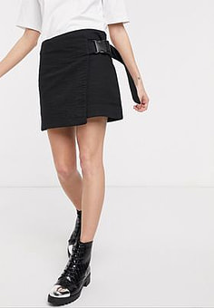 Weekday wrap clip-belt mini skirt in black