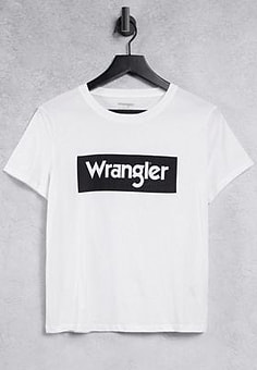 Wrangler regular fit box logo tee in off white