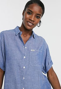Wrangler relaxed chambray denim shirt in midwash blue