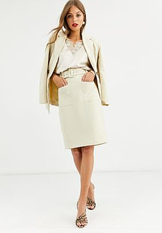 Y.A.S belted high waisted skirt-Beige