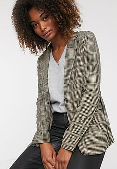 Y.A.S check belted blazer-Brown