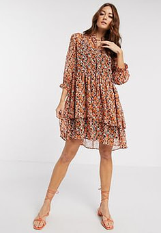Y.A.S chiffon smock mini dress with ruffle neck in orange ditsy floral-Multi