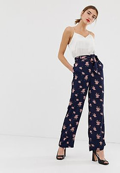Y.A.S floral wide leg trousers-Navy