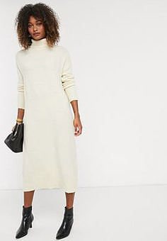 Y.A.S knitted midi dress with roll neck in cream-White