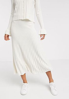 Y.A.S knitted skirt co-ord in cream-Multi