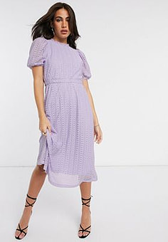 Y.A.S lace midi dress with puff sleeves in lilac-Purple