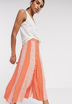 Y.A.S midi skirt with button through in red mixed print-Multi