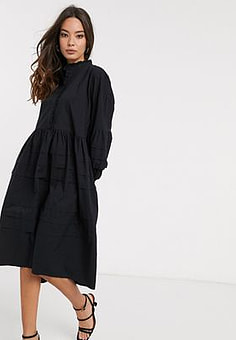 Y.A.S midi smock dress with tier detail in black