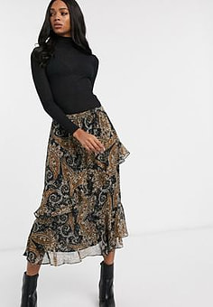 Y.A.S paisley midi skirt with ruffle detail-Multi
