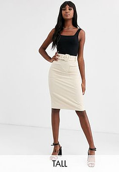 Y.A.S Arina belted high waisted skirt-Cream