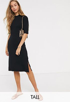 Y.A.S high neck dress with puff sleeve in black