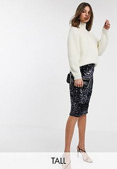 Y.A.S Nicy high waisted sequin skirt-Navy