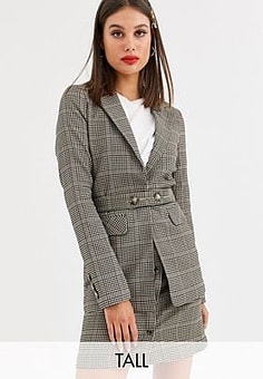 Y.A.S Silla long sleeve check blazer co-ord-Brown