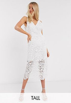 Y.A.S wedding midi dress in white lace