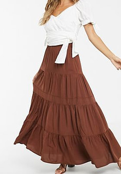 Y.A.S tiered maxi skirt-Brown