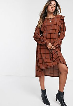 Y.A.S Valeria long sleeve ruffle front check midi dress-Brown