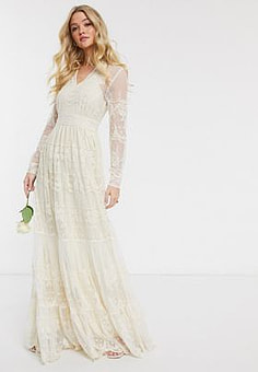 Y.A.S Wedding maxi dress with plunge neck in cream lace
