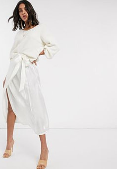 Y.A.S wrap skirt in white satin