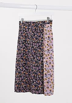 Band of Gypsies Band Of mixed floral print wrap skirt-Black