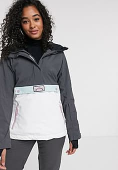 Billabong Day Break ski jacket in grey/light pink