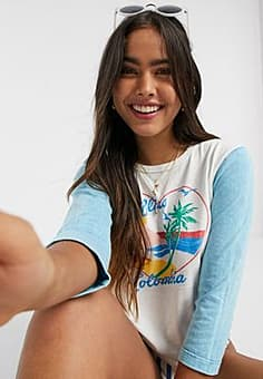 Billabong X Sincerely Jules Scenic Pastime baseball tee in Vintage wash-Multi