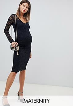 Bluebella stretch lace dress with long sleeve in black