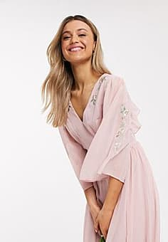 Chi Chi London Chi Chi Bridesmaid Nickie midi skater dress with open back in mink-Pink