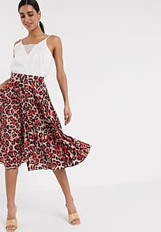 Closet London pleated midi skirt in blush leopard-Multi