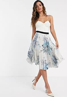 Closet London pleated midi skirt in print-Multi