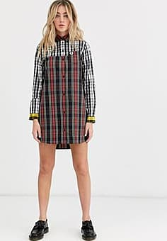 Fred Perry mixed tartan dress-Black