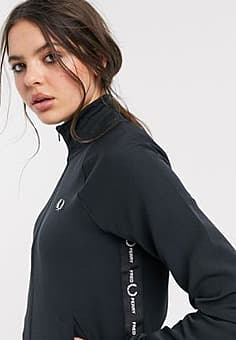 Fred Perry taped detail zip through track jacket-Black